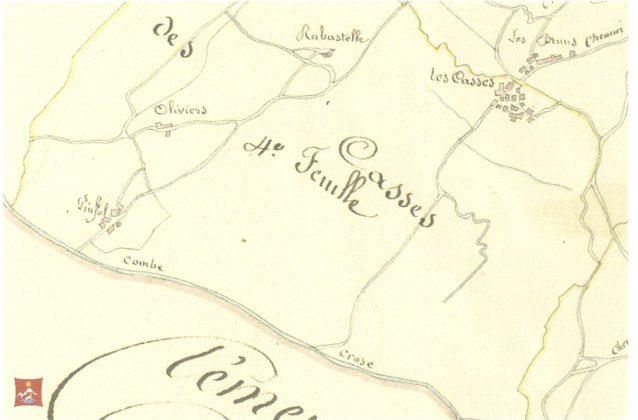 Cadastre 1833; Trois hameaux pour Pinfol ; deux pour les Casses.