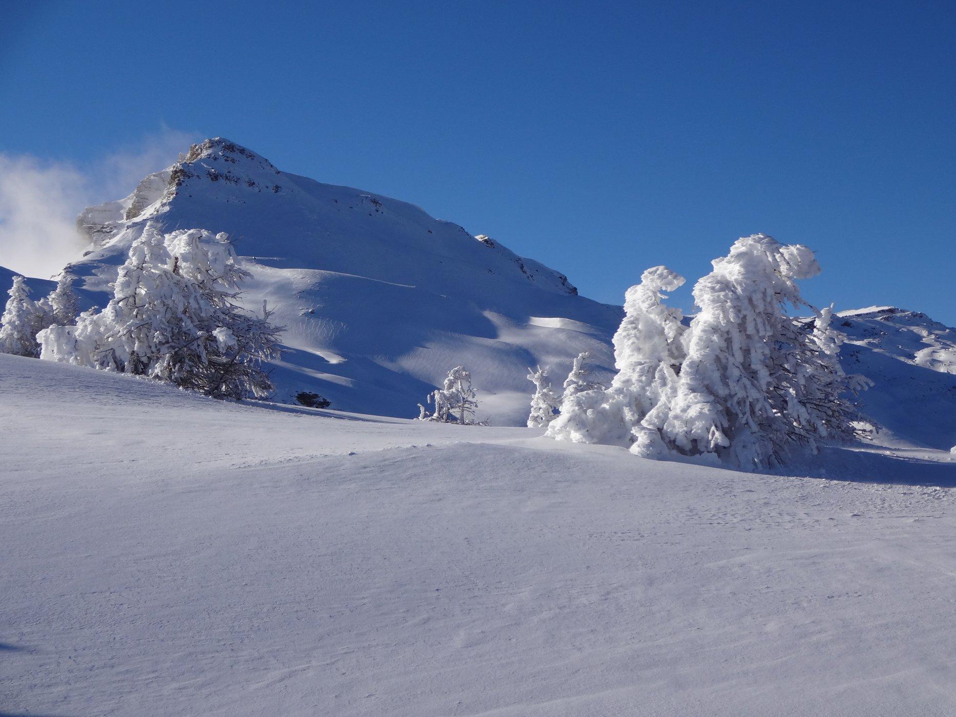 Le Pinfol (2649m) depuis la crête de la Brèche à Fouran. Cette cime peu connue est riche d'une belle variété d'itinéraires.