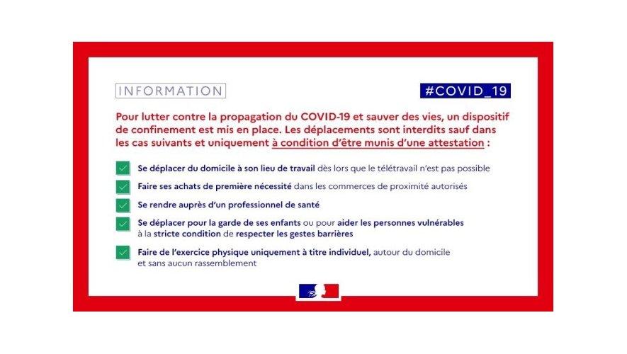 Info COVID 19 confinement
