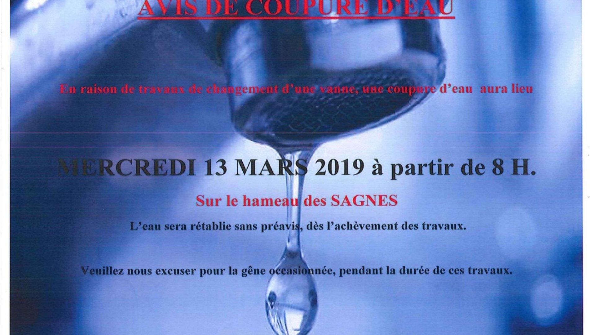 Coupure d'eau hameau des Sagnes